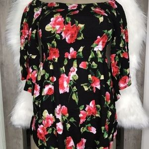 Black floral long available small medium and large